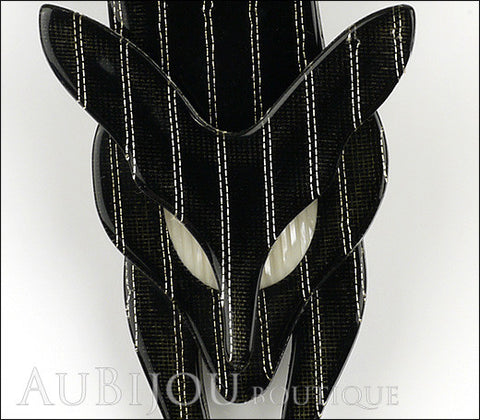 Lea Stein Fox Brooch Pin Black Gold Pinstripes Gallery