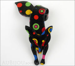 Lea Stein Fox Brooch Pin Black Multicolor Celestial Front