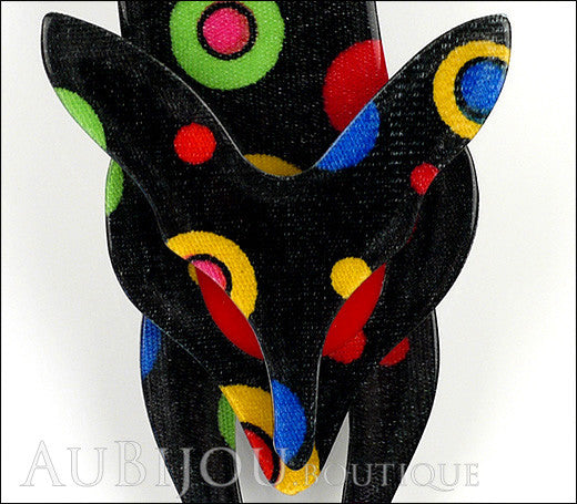 Lea Stein Fox Brooch Pin Black Multicolor Celestial Gallery