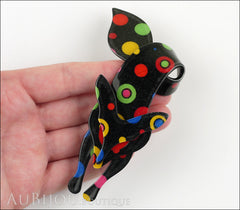 Lea Stein Fox Brooch Pin Black Multicolor Celestial Model