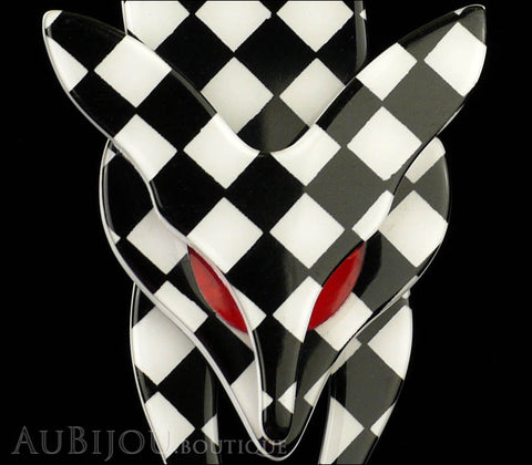 Lea Stein Fox Brooch Pin Black White Checker Gallery