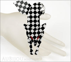 Lea Stein Fox Brooch Pin Black White Checker Mannequin