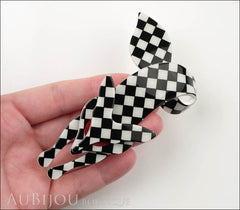 Lea Stein Fox Brooch Pin Black White Checker Model