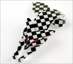 Lea Stein Fox Brooch Pin Black White Checker Side