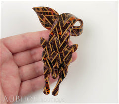 Lea Stein Fox Brooch Pin Caramel Gold Chevron Model