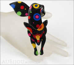 Lea Stein Fox Brooch Pin Celestial Multicolor Black Mannequin