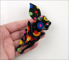 Lea Stein Fox Brooch Pin Celestial Multicolor Black Model