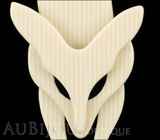Lea Stein Fox Brooch Pin Cream White Pinstripes Black Gallery