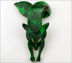 Lea Stein Fox Brooch Pin Forest Green White Front