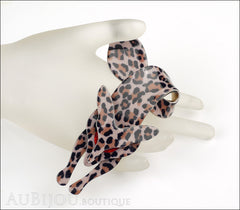 Lea Stein Fox Brooch Pin Leopard Animal Print Red Mannequin
