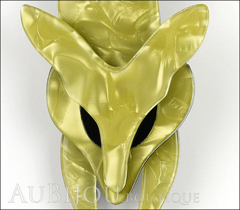 Lea Stein Fox Brooch Pin Light Mustard Green Black Gallery