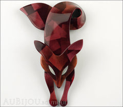 Lea Stein Fox Brooch Pin Maroon Shades Abstract Cream Front