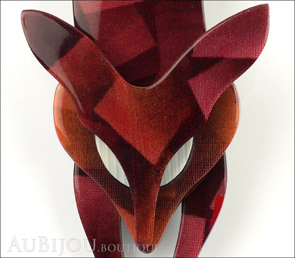Lea Stein Fox Brooch Pin Maroon Shades Abstract Cream Gallery