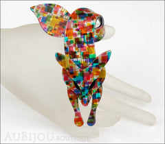 Lea Stein Fox Brooch Pin Multicolor Pattern Black Mannequin