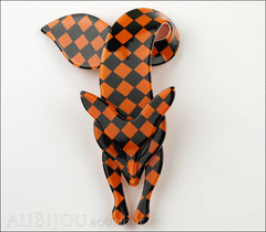 Lea Stein Fox Brooch Pin Orange Black Checker Pattern Front