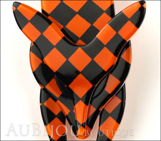 Lea Stein Fox Brooch Pin Orange Black Checker Pattern Gallery
