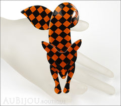Lea Stein Fox Brooch Pin Orange Black Checker Pattern Mannequin