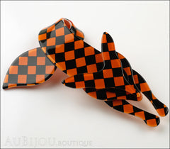 Lea Stein Fox Brooch Pin Orange Black Checker Pattern Side