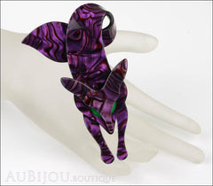 Lea Stein Fox Brooch Pin Purple Violet Green Mannequin
