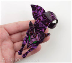 Lea Stein Fox Brooch Pin Purple Violet Green Model