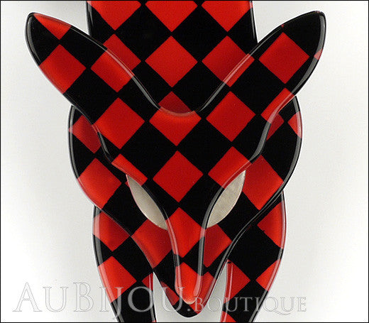 Lea Stein Fox Brooch Pin Red Black Checker Pattern Gallery