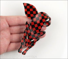 Lea Stein Fox Brooch Pin Red Black Checker Pattern Model
