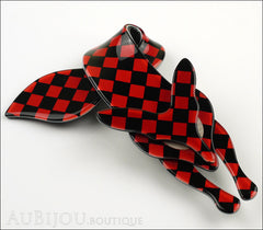 Lea Stein Fox Brooch Pin Red Black Checker Pattern Side
