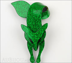 Lea Stein Fox Brooch Pin Sparkly Green Black Front