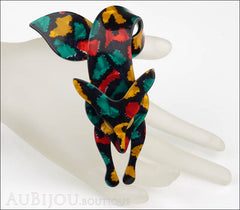 Lea Stein Fox Brooch Pin Yellow Red Turquoise Mannequin