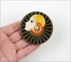 Lea Stein Full Collerette Art Deco Girl Brooch Pin Black Yellow Model