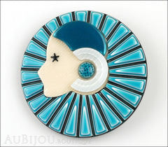 Lea Stein Full Collerette Art Deco Girl Brooch Pin Blue Black Front