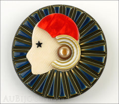Lea Stein Full Collerette Art Deco Girl Brooch Pin Blue Gold Red Front