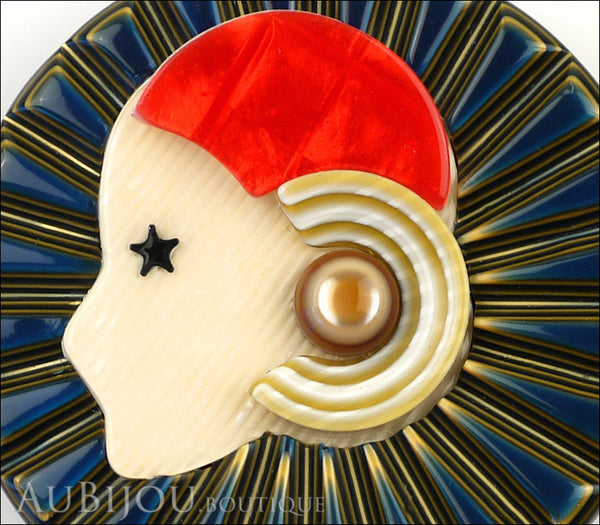 Lea Stein Full Collerette Art Deco Girl Brooch Pin Blue Gold Red Gallery
