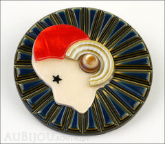Lea Stein Full Collerette Art Deco Girl Brooch Pin Blue Gold Red Side