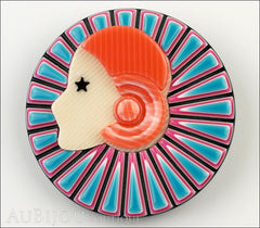 Lea Stein Full Collerette Art Deco Girl Brooch Pin Blue Pink Front