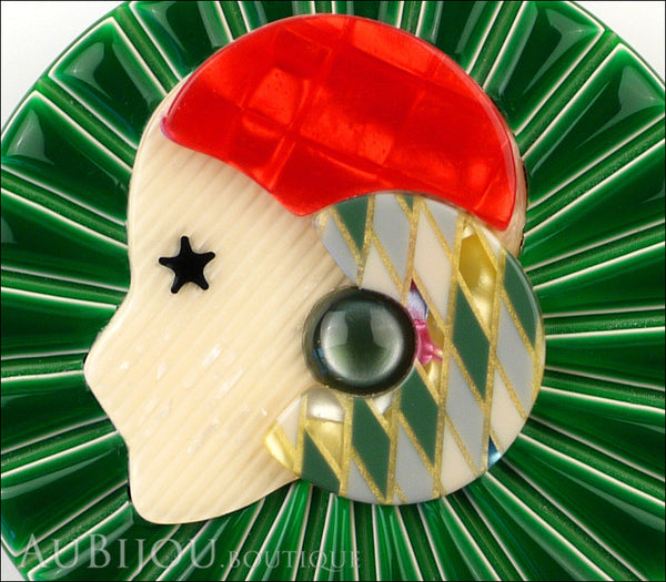 Lea Stein Full Collerette Art Deco Girl Brooch Pin Green Red Harlequin Gallery