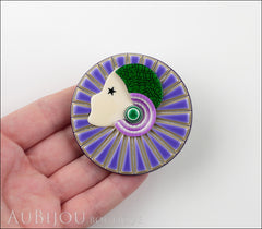 Lea Stein Full Collerette Art Deco Girl Brooch Pin Lilac Green Model