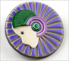 Lea Stein Full Collerette Art Deco Girl Brooch Pin Lilac Green Side