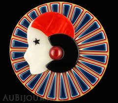Lea Stein Full Collerette Art Deco Girl Brooch Pin Navy Blue Red Black