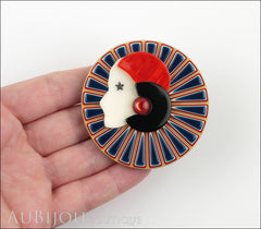 Lea Stein Full Collerette Art Deco Girl Brooch Pin Navy Blue Red Model