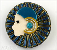 Lea Stein Full Collerette Art Deco Girl Brooch Pin Navy Gold Blue Front