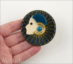 Lea Stein Full Collerette Art Deco Girl Brooch Pin Navy Gold Blue Model