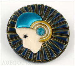 Lea Stein Full Collerette Art Deco Girl Brooch Pin Navy Gold Blue Side