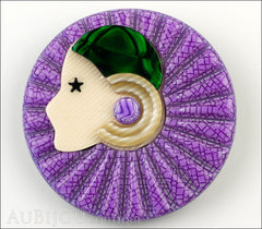 Lea Stein Full Collerette Art Deco Girl Brooch Pin Purple Green Front