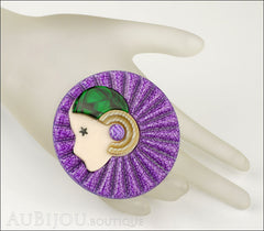 Lea Stein Full Collerette Art Deco Girl Brooch Pin Purple Green Mannequin