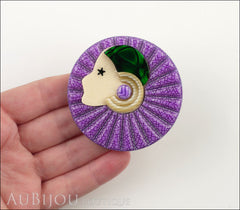 Lea Stein Full Collerette Art Deco Girl Brooch Pin Purple Green Model