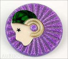 Lea Stein Full Collerette Art Deco Girl Brooch Pin Purple Green Side