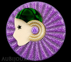 Lea Stein Full Collerette Art Deco Girl Brooch Pin Purple Green