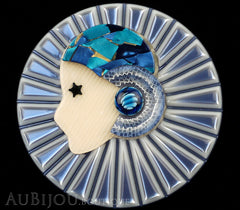 Lea Stein Full Collerette Art Deco Girl Brooch Pin Silver Blue