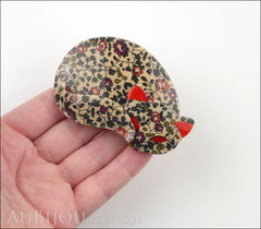 Lea Stein Gomina The Sleeping Cat Brooch Pin Beige Floral Red Model